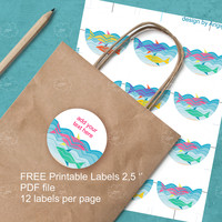 Free Summer Printable Labels, blank, 2,5 in diameter, fishes in the water labels