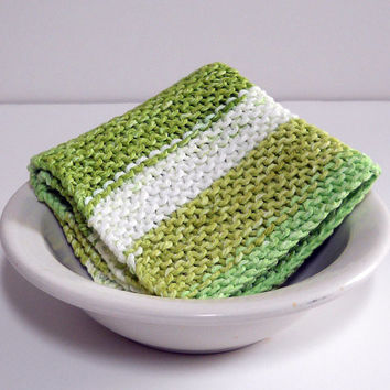 Large Hand Knit Washcloth/ Dishcloth in Lime Green and White Stripes, 100% Cotton, Make Custom Set, Housewarming Gift, Shower Gift