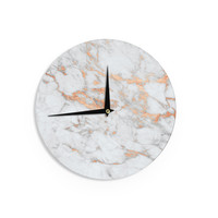 "KESS Original ""Rose Gold Flake"" White Pink Wall Clock"