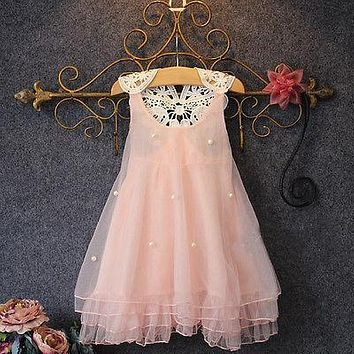 2017 Summer Baby Girls Party Lace Sleeveless Dress Sundress Gown Formal Chiffon Dress Xmas Costume Girls Clothes