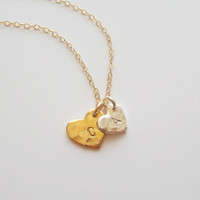 Dainty double personalized necklace, two initials necklace, mom necklace, stamped kids names, gift for mom