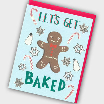 Let's Get Baked - Funny Christmas Card - Gingerbread Man Christmas Card - Funny Holiday Card - Christmas Card - Gingerbread Man Card