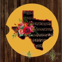 Mustard Cheetah and Red Texas with Flowers Sandstone Car Coaster