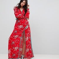 Glamorous Tall Maxi Wrap Dress With Contrast Satin Binding In Vintage Floral at asos.com