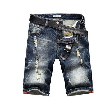 Ripped Holes Denim Summer Pants Men Stretch Casual Shorts [3501327745117]