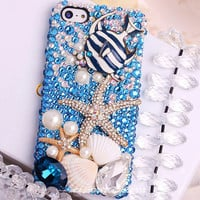 Free Phone Case & Bling  Alloy Starfish Bubble Fish Gem DIY Deco Kit Decoden Kit Cabochon Deco Kit For DIY Cell Phone iPhone 4G 4S 5 Case