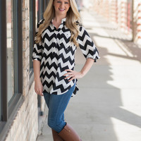 Chevron Blouse- Black