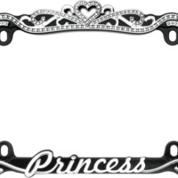 Princess Chrome License Plate Frame