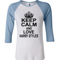 keep calm and love harry styles 3/4 Sleeve Baseball Ladies Jersey