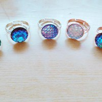 10pcs/lot 12mm Mermaid scale ring, fish scale ring,shimmery mermaid jewelry adjustable rings