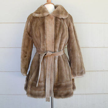 Vintage Faux Fur Coat, Adolph Schuman for Lilli Ann, Brown Faux Fur with Suede Trim, circa 1970s