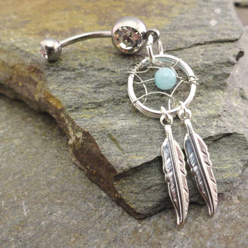 Amazonite Dream Catcher Belly Button Ring Silver Feather Belly Jewelry Soothing Stone