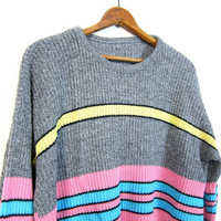 Retro 80s Sweater Loose Knit Chunky Sweater Striped Gray Pink Blue Neon Pullover 80s Boyfriend Grunge Slouchy Grey Yellow XL