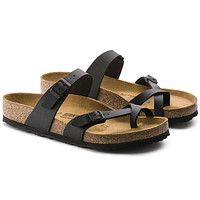 newest hot sale mayari birkenstock 805 summer fashion leather beach lovers slippers casual sandals for women men couples slippers color black size 34 45