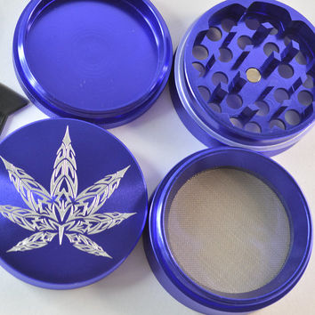 GrindTex - Spiked Leaf - Engraved Metal Herb Grinder - 4 piece Herb grinder - Free Crystal Brush