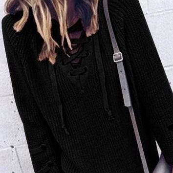 Stevie Lace-Up Sweater in Charcoal