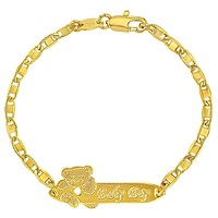 """18k Gold Plated Tag ID Identification Bracelet for Baby Boy or Toddler 5.5"""""""