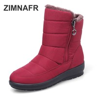 ZIMNAFR BRAND SNOW BOOTS WOMEN'S BOOTS WATERPROOF ANTISIKD ANKLE WOMEN WINTER SNOW BOOTS  PLUS SIZE 35-42