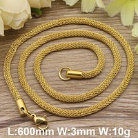 Hot new stainless steel jewelry gold color and silver color trendy Necklace for women and men  NFHGCWGP