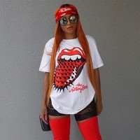 Plus Size Women's Fashion Summer Short Sleeve Round-neck Red Print T-shirts [11809571343]