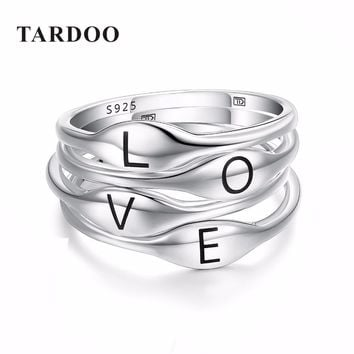 Tardoo Authentic 925 Sterling Silver Rings for Women New Ideas Together Fly&Love Typeface Other Rings Brand Fine Jewelry