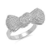 Clear CZ Silver Bow-Tie Ring Sizes 6
