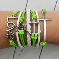 Love bracelet, cross brace, rudder bracelet, anchor ring, white leather, bright green wax rope leather bracelet