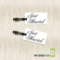 Just Married Metal Luggage Tag Set Personalized Back | Metal Tags Printed Personalization