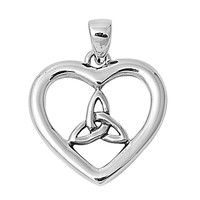 "Sterling Silver Pagan Divine Will Heart Pendant 19MM (Free 18"" Chain)"