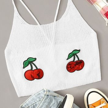 Embroidered Cherry Rib-knit Lace Up Crop Top