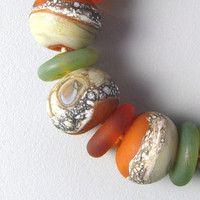 Sage and Rust 23 Handmade Lampwork Glass Beads by TheBeadYouNeed