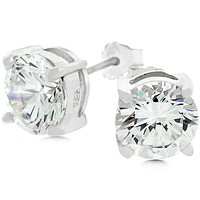 Christa Round Cut Stud Earrings - 8mm | 2.5ct | Sterling Silver