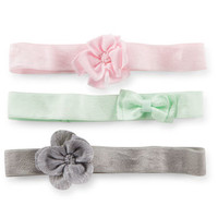 3-Pack Bow & Flower Baby Headwraps