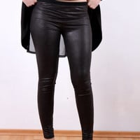 SALE Black Leather Leggings Stretch Leather Leggings Faux Leather  by JMSTYLE