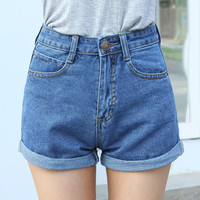 High Waist Button-Front Tailored Cutoff Cuffed Denim Shorts with Roll Hem and Visible Pockets