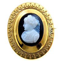 Pinchbeck Cameo Glass Cameo Brooch Chatelaine