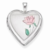 Sterling Silver 20mm Enameled Flower Heart Locket