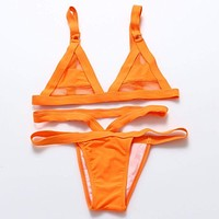 Mesh Bikini Set Lace Hollow Out Tops Bandage Swimsuit Swimwear