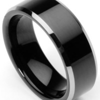 Men's Tungsten Ring/Wedding Band, Flat Top, Two Toned Black, Sizes 7 - 10 (rg2) (9)