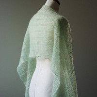 Knitted silk and mohair summer lace shawl, stole wrap in colour light mint green and cream hand dyed yarn