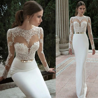2016 New Hot Selling Custom Made Wedding Dresses Vestido de Noiva Casamento Robe De Mariage Mermaid Lace Backless Sashes