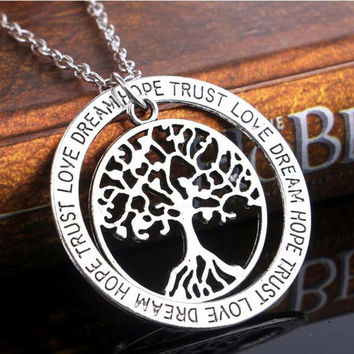 Vintage Silver Tree of Life Family Tree Pendants Necklace FREE SHIPPING