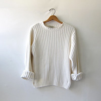vintage natural white sweater. ribbed cream pullover. Eddie Bauer sweater.