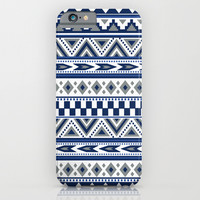 Tribal Art Pattern Navy Blue Silver White Dallas Cowboy colors iPhone & iPod Case by Tjc555
