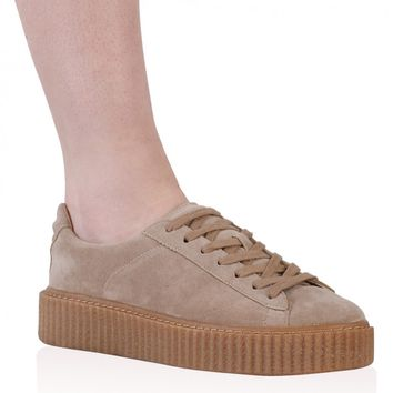 Yinka Creepers In Beige Faux Suede and Gum Sole