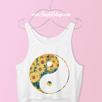 Sunflower Yin Yang Crop Tank Top