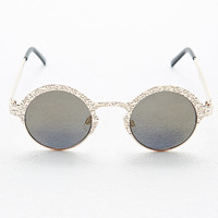 Sci-Fi Round Sunglasses in Gold - Urban Outfitters