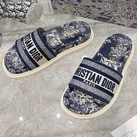 Christian Dior hot sale pattern embroidery letters ladies casual sandals beach slippers Shoes Blue