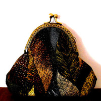 Leaf print purse / black / brown / grey / gold / cotton / lined / polka dot / handmade / gift / autumn / bronze / wallet / small clasp purse