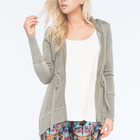 Full Tilt Essential Womens Anorak Hoodie Olive  In Sizes